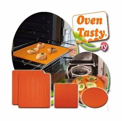 OVEN TASTY Oven And Microwave Non-Stick Mats Cooks Without The Fats - Set Of 4