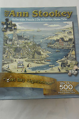 """Jigsaw Puzzle 500 Piece """"Lost Bay Lighthouse"""" The Art of Ann Stookey; Sealed New"""