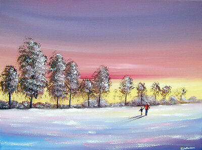 SARAH FEATHERSTONE ORIGINAL ART SIGNED CANVAS OIL PAINTING, Our Walk In The Snow