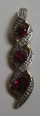 Vintage 9ct Yellow Gold With Red Stones & Diamonds Pendant