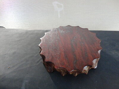 Vintage Carved Scalloped Edge Chinese  Wooden Stand