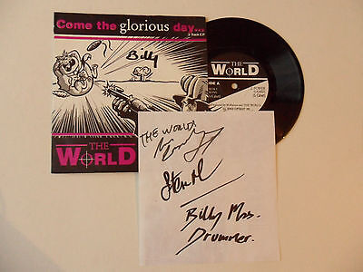 """The World - Come Glorious Day SIGNED 7"""" E.P. & insert ( mod power pop jam )"""