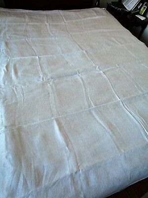 "Vintage tablecloth 98""x64 Antique White Irish Linen Double Damask Floral Scroll"