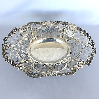 Large Victorian Sterling Silver Footed Pierced Fruit Bowl London 1894