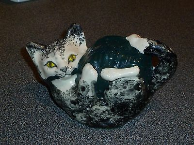 Tey Pottery Cat with Ball of Wool. Carol's Cats. Banham, Norfolk.
