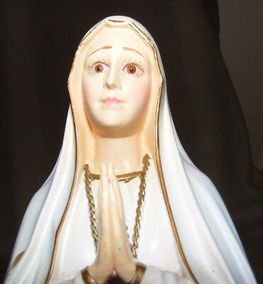 Vintage Our Lady Of Fatima Virgin Mary Plastic Celluloid Figure Glass Eyes
