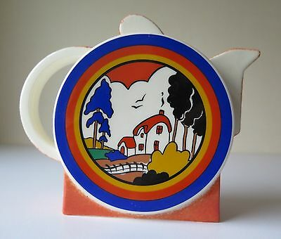 Clarice Cliff Huntley Cottage  Teapot By Moorland Pottery Mint Rare Design