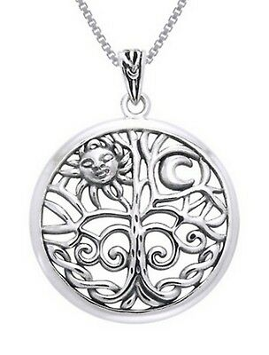 Solid Sterling Silver Tree Of Life Pendant Celtic Goddess Jewelry