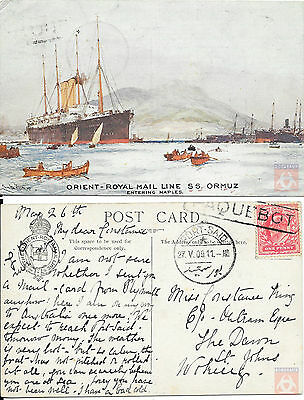Angleterre - Carte Postale PAQUEBOT - ORMUZ - Posted at Sea 1911 - Port Said