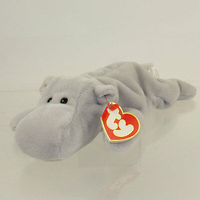 fccb6998778 TY BEANIE BABY - HAPPY the Hippo (Grey Version) (3rd Gen Hang Tag ...