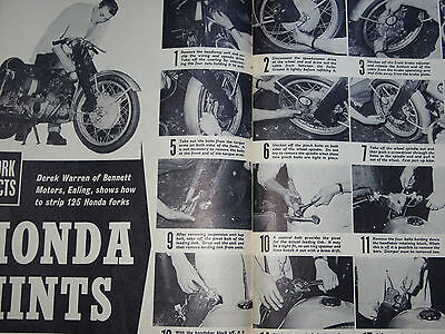 Rare HONDA CA95 BENLY 125 CB92 DREAM etc FRONT FORKS PHOTO ILLUS. STRIPDOWN