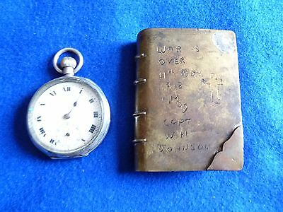 WW1 Royal Ulster Rifles solid silver watch & Armistice trench art - RARE