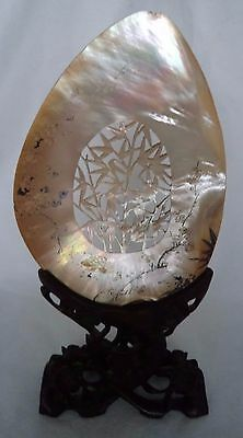 19TH CENTURY c1880 CHINESE CARVED MOTHER OF PEARL SHELL & HARDWOOD STAND