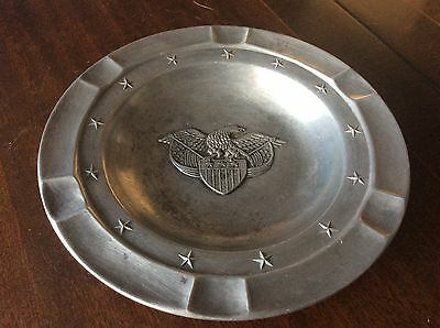 Eales 1779 Pewter Eagle & Usa Shield Ash Tray Americana Unpolished Patina