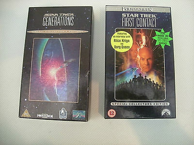 Star Trek Generations & First Contact Limited Vhs With Postcards