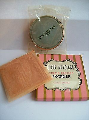 Vintage ELGIN AMERICAN Powder & Puff w BOX New Old Stock UNUSED Compact Refill