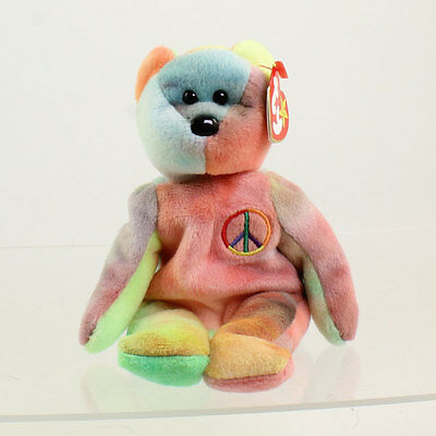 TY Beanie Baby - PEACE the Ty-Dyed Bear (Red) (8.5 inch) MWMT's