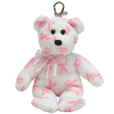 TY Beanie Baby - GIVING the Pink Bear (Key Clip - Breast Cancer Awareness Bear)