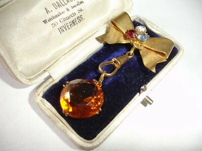 Antique Victorian bow & paste stone amber glass pendant or watch clip brooch pin