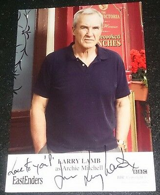 Eastenders Cast Card Of Larry Lamb Signed And Dedicated To P