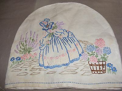 Vintage Irish Linen Hand Embroidered Tea Cosy Cover Crinoline Lady Flowers