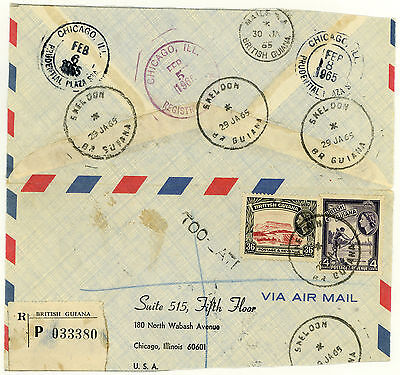 British Guiana Airmail Large Fragment, 1965 Registered Skeldon, Too Late