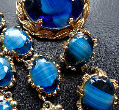 vintage parure set blue banded glass agate necklace earrings brooch 60s -C758
