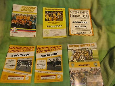 Sutton United FC 6 home programmes pre 2000 v Kidderminster Dulwich Bromley etc