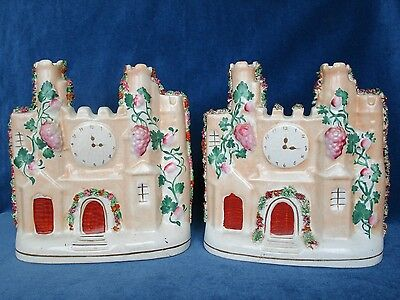 Two Similar Nineteenth-Century Staffordshire Clock Tower or Castle Spill Vases