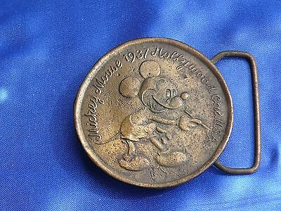 "Pre WW2 1937 Mickey Mouse BRASS BELT BUCKLE Disneyana Appears Sand Cast 2.5"" Di"