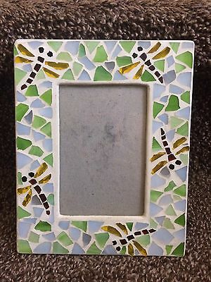 Used Mosaic Dragonfly Photo Picture Frame Stone Cool Decor Rustic Living Room