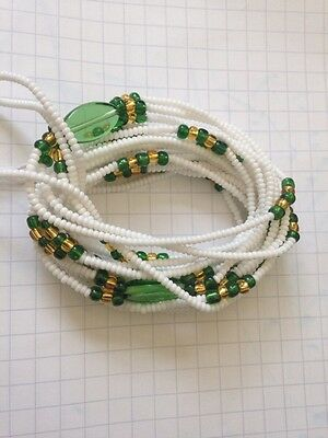 African Waist Beads -  White, Gold and Green 3-in-1 Beads 35''inches long