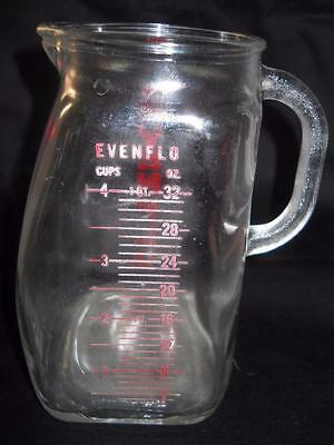 Evenflo Thick Glass Measuring Red Pitcher Cup 4 Cups 1 Quart 32 oz. Baby Formula
