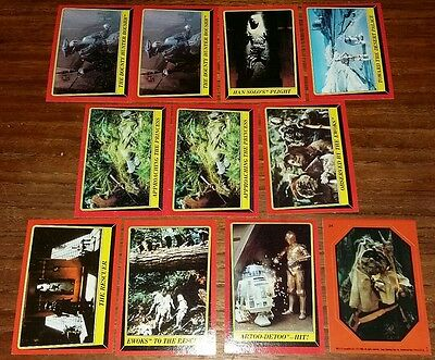 11 Star Wars Return of the Jedi Trading cards from 1983