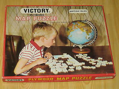 Rare Vintage Victory, Plywood Jigsaw, The Map, Complete