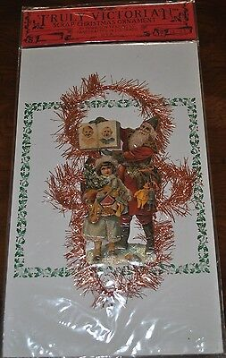 Truly Victorian Repro Scrap Tinsel Christmas Santa w girl Ornament 1989 Denver