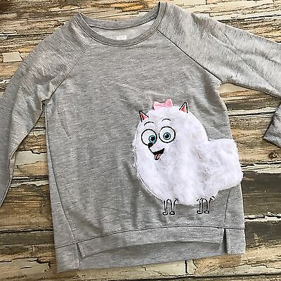 Girls Sweatshirt Secret Life of Pets Dog Plush Fur XL 14 16 Heather Gray Top New