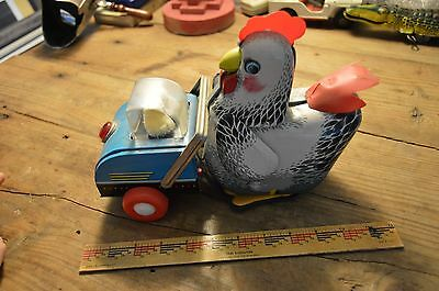 Vintage Tin, Battery Toy, Chicken pushing Chicks
