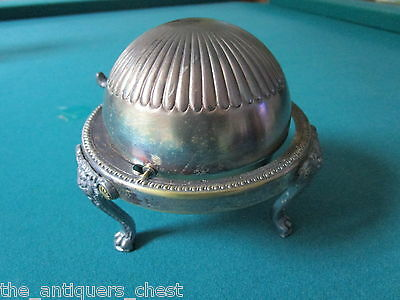 """Rogers  Silverplate Butter/Caviar dish with Roll Top Dome Silver Plate,5""""[a*4met"""