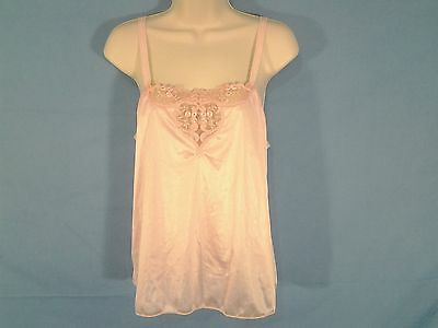 Vintage Vanity Fair Nylon Antron Pink Lace Trim Camisole Cami Top Size 34 USA