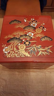 Vintage Japanese Lacquered Resin 3 part Jubako (Box)