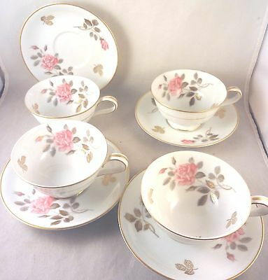 NORITAKE 5475 CUP & SAUCER SETS (4 Pair) PINK ROSES Gold Leaves & Trim
