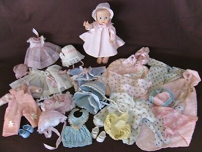 Adorable Vintage 1950's Ginnette Doll + Many Tagged Outfits/shoes Made By Vogue