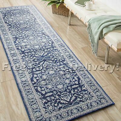SULIS FLORAL MEDALLION BLUE TRADITIONAL RUG RUNNER (L) 80x400cm **FREE DELIVERY*