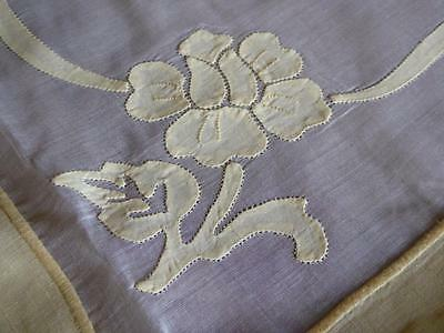 """Vintage Madeira Yellow Linen & Organdy Hand Embroidery 40"""" Square Tablecloth"""
