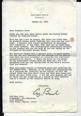 george bush letter on white house stationary aug 12,1991 to infantry sergeant