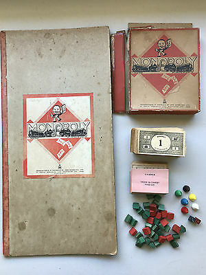 Vintage MONOPOLY 1930s/1940s Small Box Wooden Houses Hotels Money