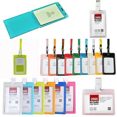 Office School Student Employee ID Access Pass Card Holder Case Cover Plastic/PU