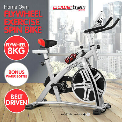 POWERTRAIN HOME GYM EXERCISE BIKE SPIN FLYWHEEL TRAINING FITNESS Silver