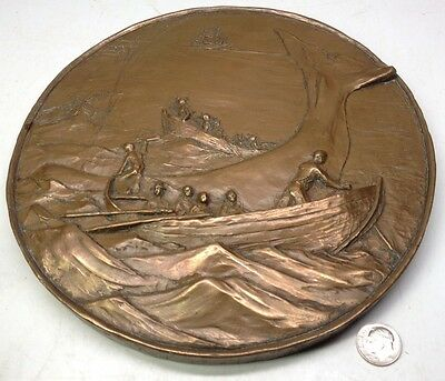 Old Cast Bronze WHALING Scene Bas Relief Sculpture / Plaque Boats of Whalers 8""